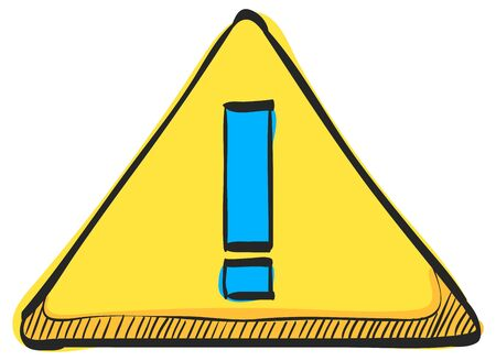 Warning sign icon in color drawing. Beware notice triangle safety security