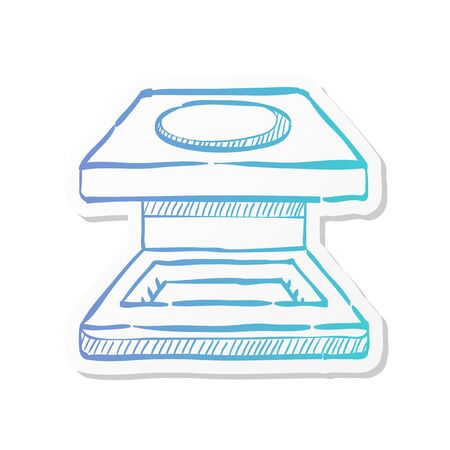 Printing magnifier icon in sticker color style.