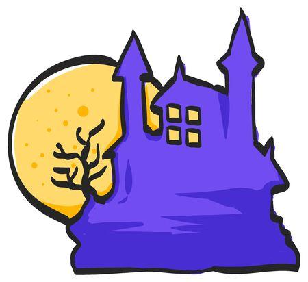 Dark castle icon in color drawing. Halloween symbol path moon building spooky fear