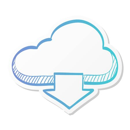 Cloud download icon in sticker color style.