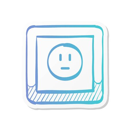 Protected electric outlet icon in sticker color style.