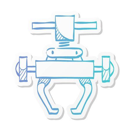 Bicycle tool icon in sticker color style. Transportation sport spare parts tool remove crank set repair maintenance Ilustração