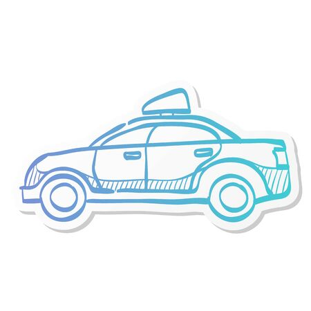 Safety car icon in sticker color style. Race rally control competition siren Illustration