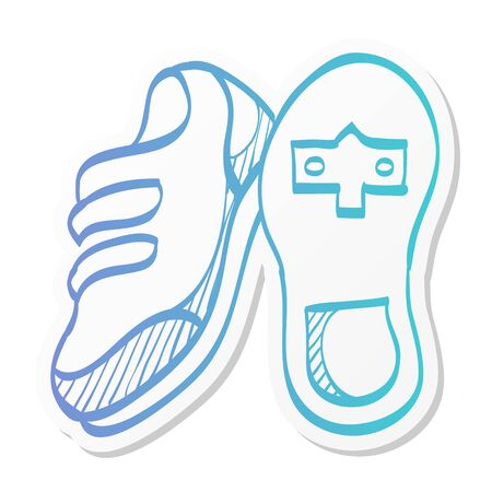 Cycling shoe icon in sticker color style. Sport road race time trial foot pedal clip less cleat