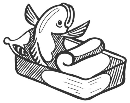 Fish wake up from sleep in canned packaging. Hand drawn vector illustration. Vectores