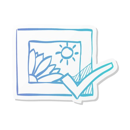 Printing approval icon in sticker color style. Print shop service publisher desktop publishing Illustration
