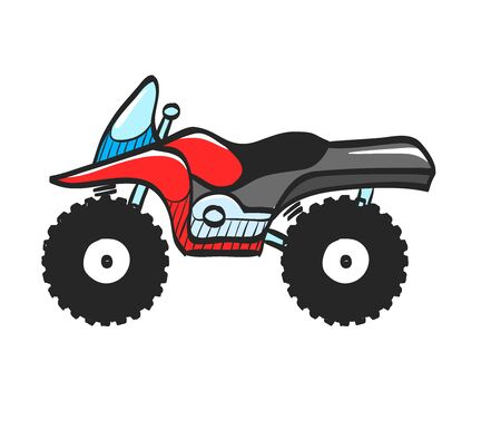 All terrain vehicle icon in color drawing. Rally offroad desert extreme sport outdoor