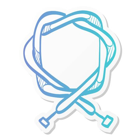 Bicycle cable icon in sticker color style. Parts repair maintenance transportation sport Ilustração