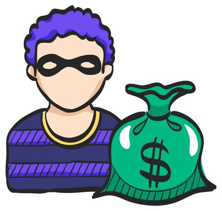 Burglar icon in color drawing. People person thief steal money sack dollar sign Illustration