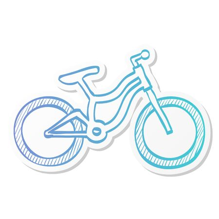 Mountain bike icon in sticker color style. Sport transportation explore distance endurance bicycle suspension