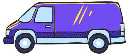 Car icon in color drawing. Van, delivery, bus