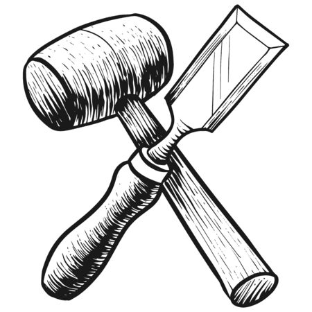 Chisel and mallet icon in sketch style. Woodworking tool vector illustration.