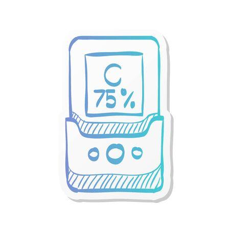 Color calibration icon in sticker color style. Printing color standard densitometer raster dots density