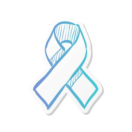 Awareness band icon in sticker color style. Aids HIV breast cancer healthcare medical