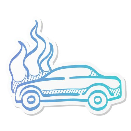 Car on fire icon in sticker color style. Automotive transportation accident accident burned insurance claim