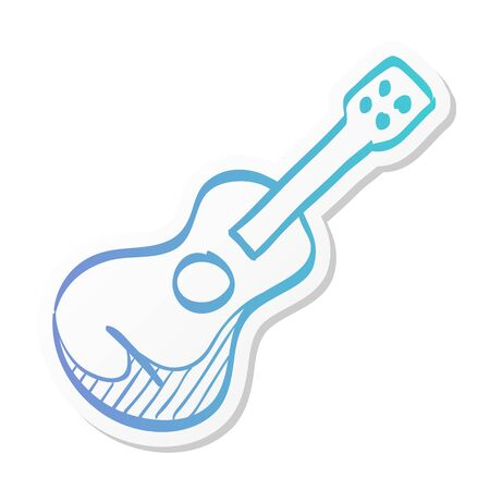 Guitar icon in sticker color style. Music instrument string sound