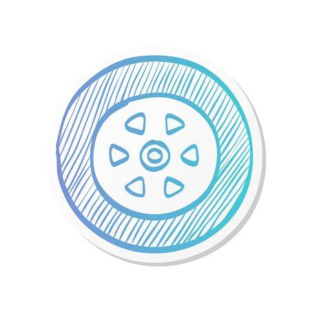 Car tire icon in sticker color style. Auto transportation wheel rubber