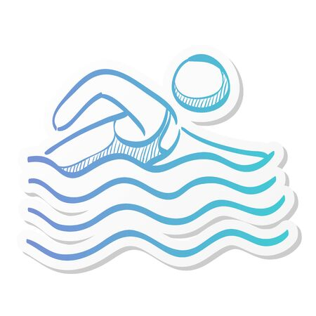 Man swimming icon in sticker color style. Athlete triathlon s  sport