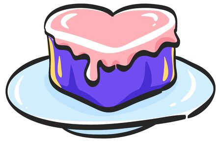 Wedding cake icon in color drawing. Romantic married party dessert