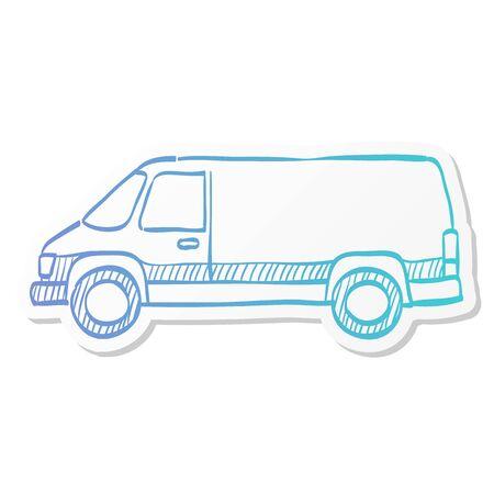 Car icon in sticker color style. Van, delivery, bus