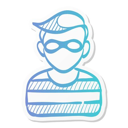 Burglar icon in sticker color style. People person thief steal money sack dollar sign