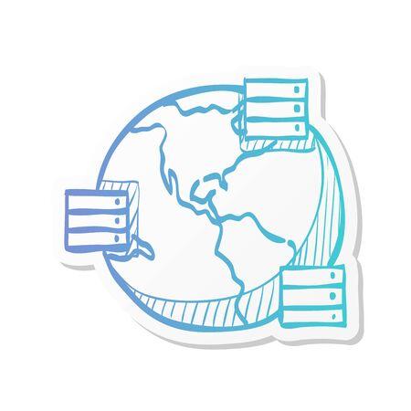 Server icon in sticker color style. Mirror, multiple