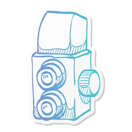 Twin lens reflex camera icon in sticker color style. Vintage retro photography photo mechanical analog film shooting