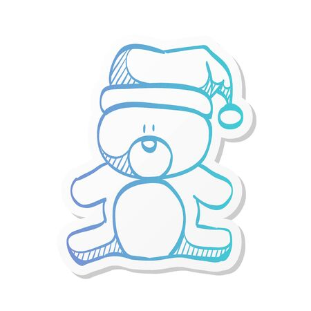 Teddy bear icon in sticker color style. Christmas celebration gift animal happy merry Stock Illustratie