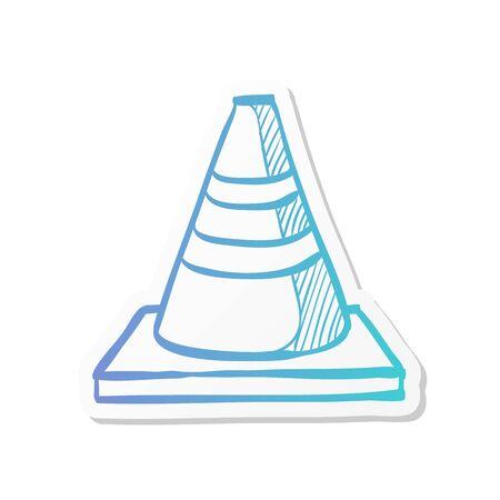 Road sign cone icon in sticker color style. Danger forbidden plastic transportation
