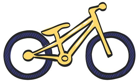 Trial bicycle icon in color drawing. Extreme sport athlete bike competition