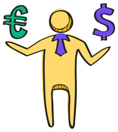 Businessman  holding Euro and Dollar sign. Icon in color drawing.