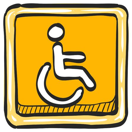 Disabled access icon in color drawing. Road building wheelchair care
