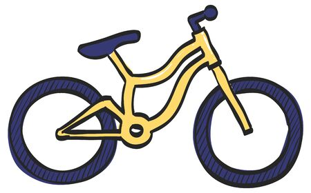 Mountain bike icon in color drawing. Sport transportation explore distance endurance bicycle suspension