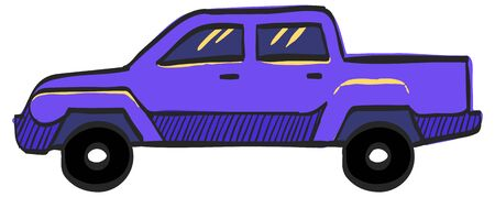 Car icon in color drawing. Truck, double cabin, 4x4, 4 wheel driver American  向量圖像