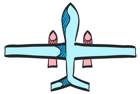 Unmanned aerial vehicle icon in color drawing. Aviation technology military drone modern warfare
