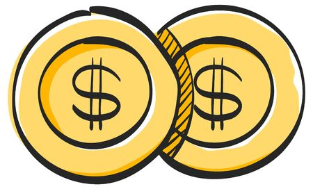 Coin money icon in color drawing. Wealth banking finance investment Vettoriali