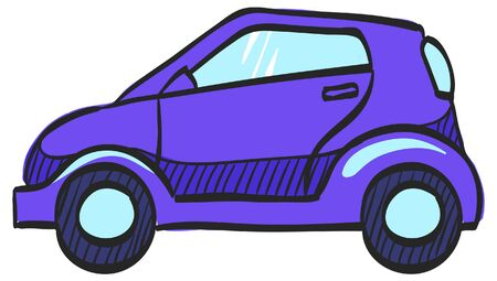 Green car icon in color drawing. Low emission, electric vehicle