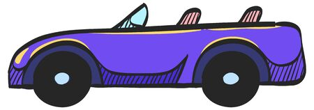 Sport car icon in color drawing. Luxury speed coupe automotive convertible