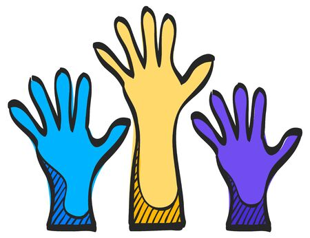 Hands icon in color drawing. Anatomy human family care kids adult parents Vettoriali