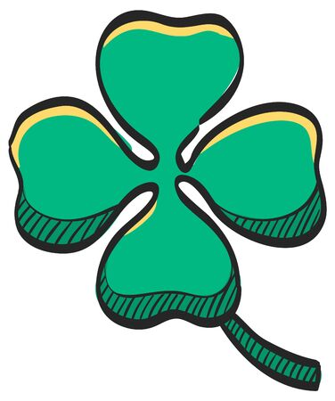 Clover icon in color drawing. Nature plant green saint Patrick symbol Ilustracja