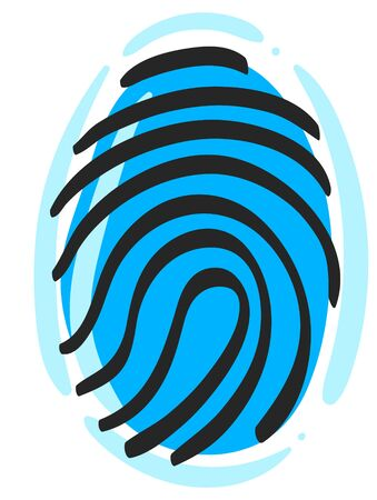 Fingerprint icon in color drawing. Science security crime anatomy identity 向量圖像