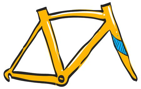 Bicycle frame icon in color drawing. Sport transportation leisure size fitting