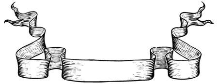 Hand drawn ribbon banners. Vintage elements vector illustration