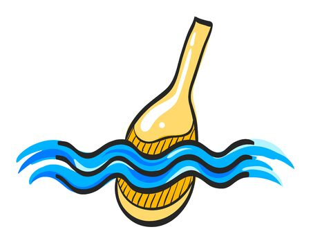 Fishing float icon in color drawing. Sport leisure water sea lake river bobber equipment Illusztráció