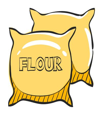 Flour sack icon in color drawing. Agriculture cereal burlap food baking wheat