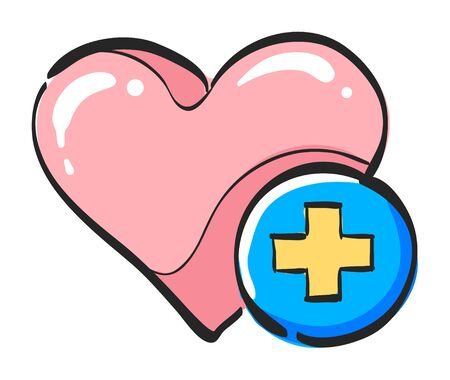 Favorite icon in color drawing. Internet symbol like plus heart shape