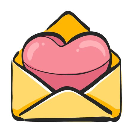 Envelope with heart icon in color drawing. Love romance receive surprise gift Ilustração
