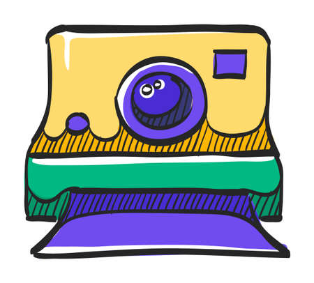Instant camera icon in color drawing. Vintage retro photography photo mechanical analog film shooting instant paper Ilustração