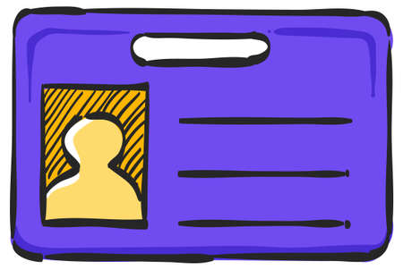 ID Card icon in color drawing. Identity office worker businessman