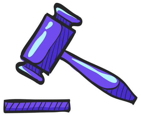 Wood hammer icon in color drawing. Law justice judge auction bidder